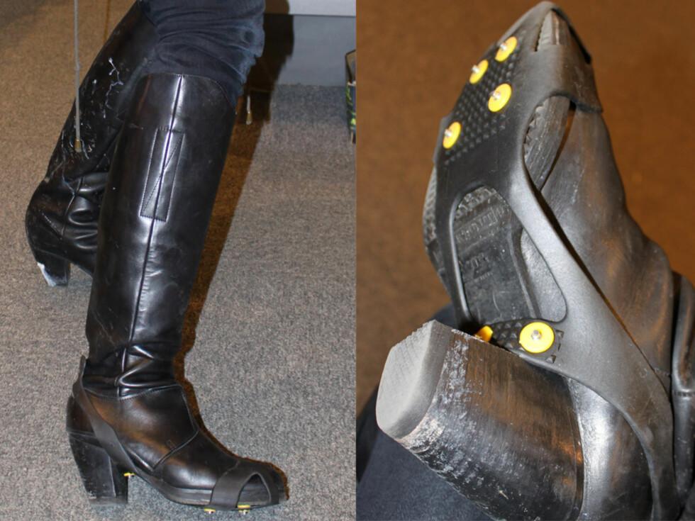 OVERRASKENDE LETTE Å BRUKE: kk.no har testet ut Kalix gummibrodd med seks pigger utenpå støvlettene. De sitter bra og er lette å ta av og på. Foto: Cecilie Leganger