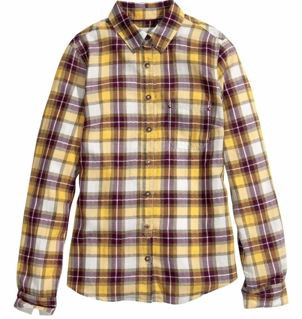 I gult, hvitt og burgunder (kr 200, H&M). Foto: Produsenten