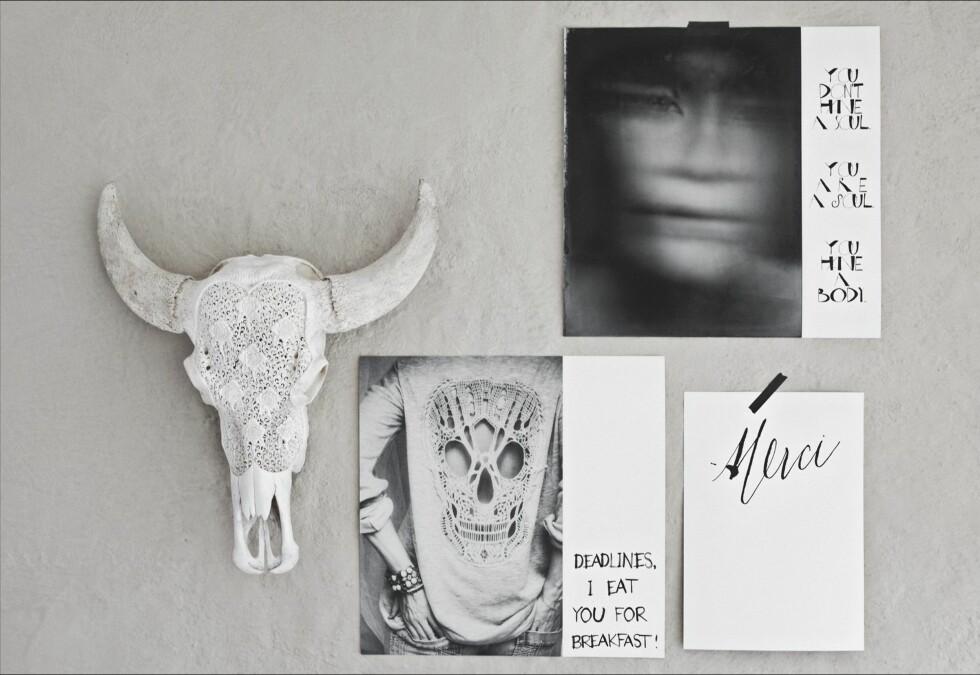 SÅ KULT - OG SELVDESIGNET: Print ut bilder, sett av hvite felt - og skriv tekst på. Det er enkelt og veldig dekorativt. Les mer om hvordan du kan få det til selv i lenken under.  Foto: Hannah Lemholt