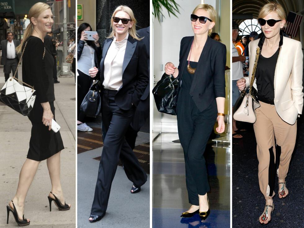 ALLTID VELKLEDD OG ELEGANT: Skuespiller Cate Blanchett er en mester i å style blyantskjørtet, blazeren og dressbuksen på en smart måte - og hun klarer alltid å balansere det maskuline og det feminine. Foto: All Over Press