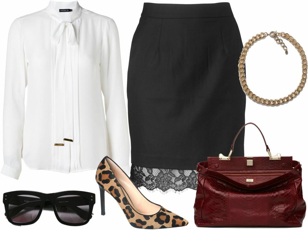 NÅR DU VIL PYNTE DEG LITT PÅ JOBBEN: Hvit bluse med sløyfe (kr 500) og svart skjørt med blondekant (kr 600, begge fra MQ), halskjede (kr 180 og svarte solbriller (kr 280, begge fra Zara), dyriske pumps (kr 1995, Rizzo) og vinrld skinnveske (kr 3995, Adax). Foto: Produsenter