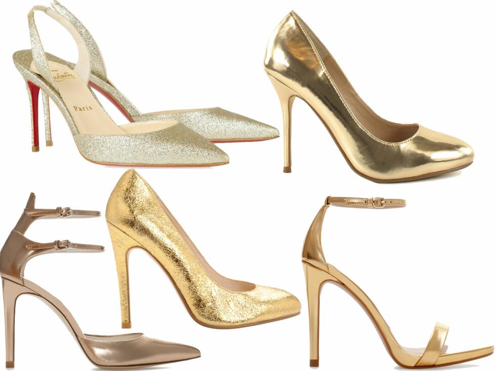 <strong>GYLNE GODE KJØP:</strong> Øverst til venstre til luksuspris (cirka kr 4000, Christian Louboutin/Net-a-porter.com), med rund tupp (kr 300, NLY), med ankelrem (kr 670, Zara), med skimmer (kr 500, Bianco) og skyhøye sandaler (kr 670, Zara). Foto: Produsenter