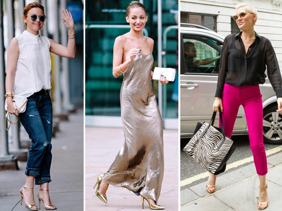 <strong>STJERNENE GÅR FOR GULL:</strong> Popstjerne Kylie Minogue styler sine gullsko med oppbrettede jeans, stilikon Nicole Richie tar den helt ut i gullkjole og gullsko mens Jessie J kombinerer sine gylne sandaler med knall rosa aneklbukser og sort bluse. Foto: All Over Press