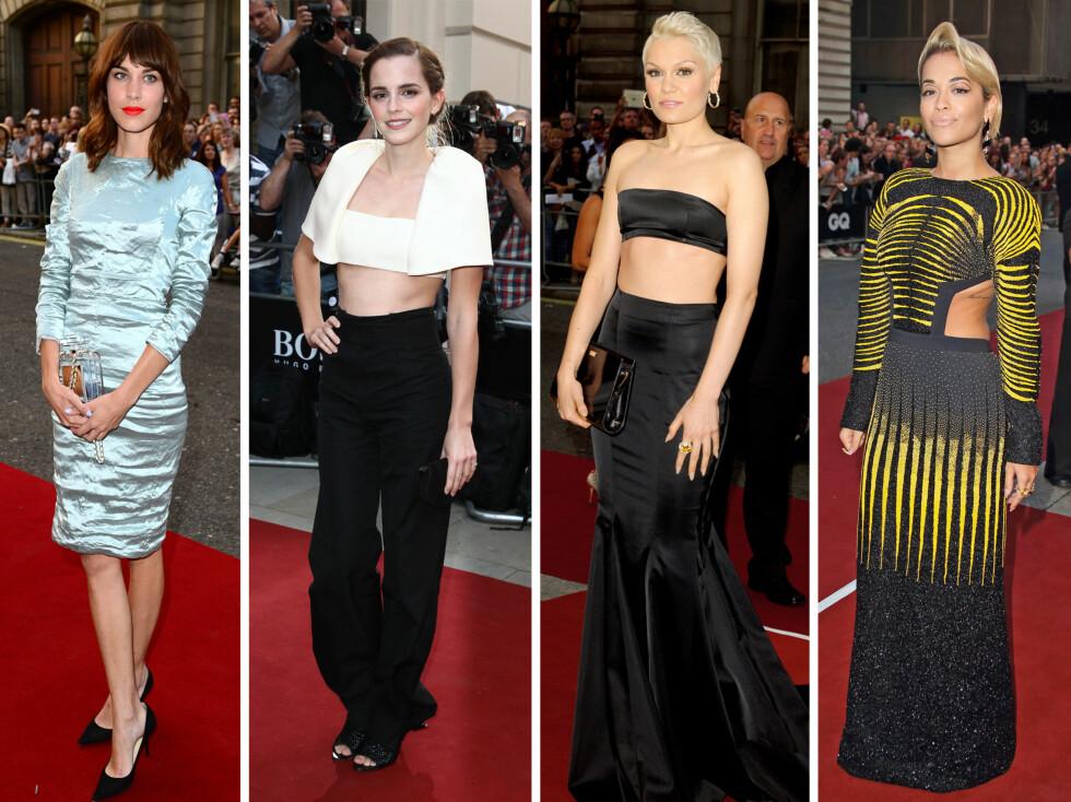 VAKRE: Alexa Chung, Emma Watson, Jessie J og Rita Ora på den røde løperen under GQ Men of the Year Awards.  Foto: All Over Press