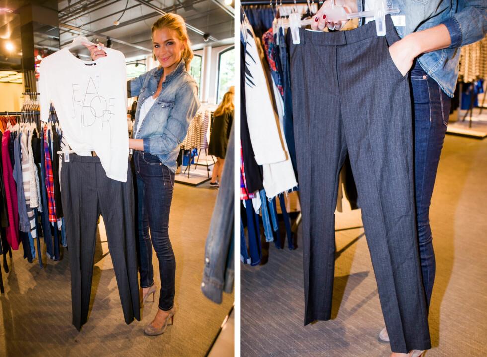 DRESSBUKSEN: Høstens må-ha på buksefronten er dressbuksen. Gjerne en med striper. Kombiner den med en røff t-skjorte med franske gloser for en akkurat passe avslappet og chic look.  Foto: Per Ervland