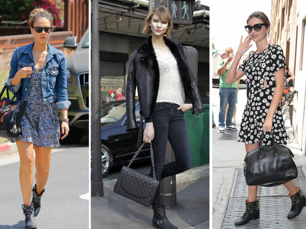 ELSKES AV KJENDISENE: Skuespiller Jessica Alba bruker bootsa til søte sommerkjoler og dongerijakker, supermodell Karlie Kloss går for en rocka stil med smale jeans og skinnjakke mens Miranda Kerr topper blomsterkjolen med dem. Foto: All Over Press