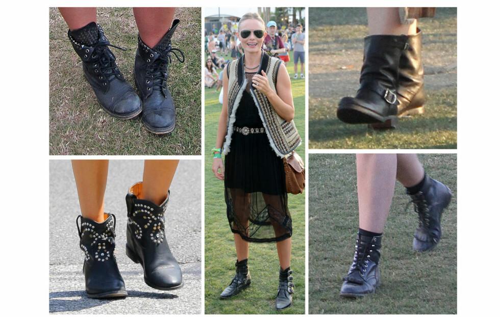 PERFEKT TIL FESTIVAL OG HØSTMOTEN: Svarte boots i skinn er perfekt både til høstens trender og til festivaler - som Øya, som begynner denne uken. Disse bildene er av kjendiser på årets Coachella-festival. I midten - Kate Bosworth.  Foto: All Over Press