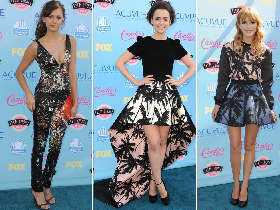PRINT:  Nina Dobre, Lily Collins og  Bella Thorne så fantastiske gikk for print under Teen Choice Awards.  Foto: All Over Press