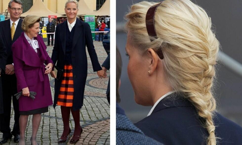 FRANSK OG FIN: Mette-Marit kombinerer den klassiske, franske fletta med en hårbøyle. Foto: All Over Press