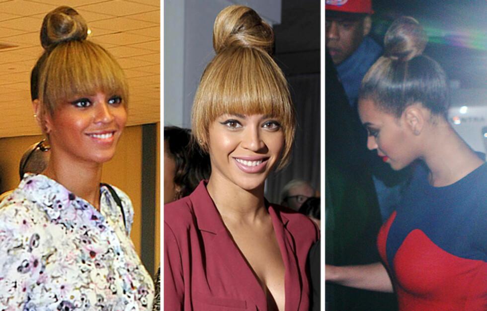 PÅ TOPPEN: Beyoncé har en mye mindre topp enn Lopez, men setter den også helt på toppen av hodet. Foto: All Over Press