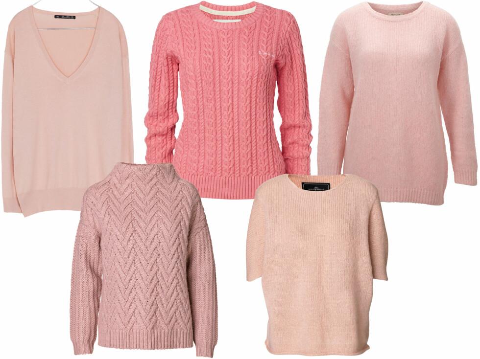 Med v-hals (kr 130, Zara), flettet (kr 600, MQ), lun og pusete (kr 500, Selected Femme), i røff strikk og med korte ermer (begge fra By Malene Birger).