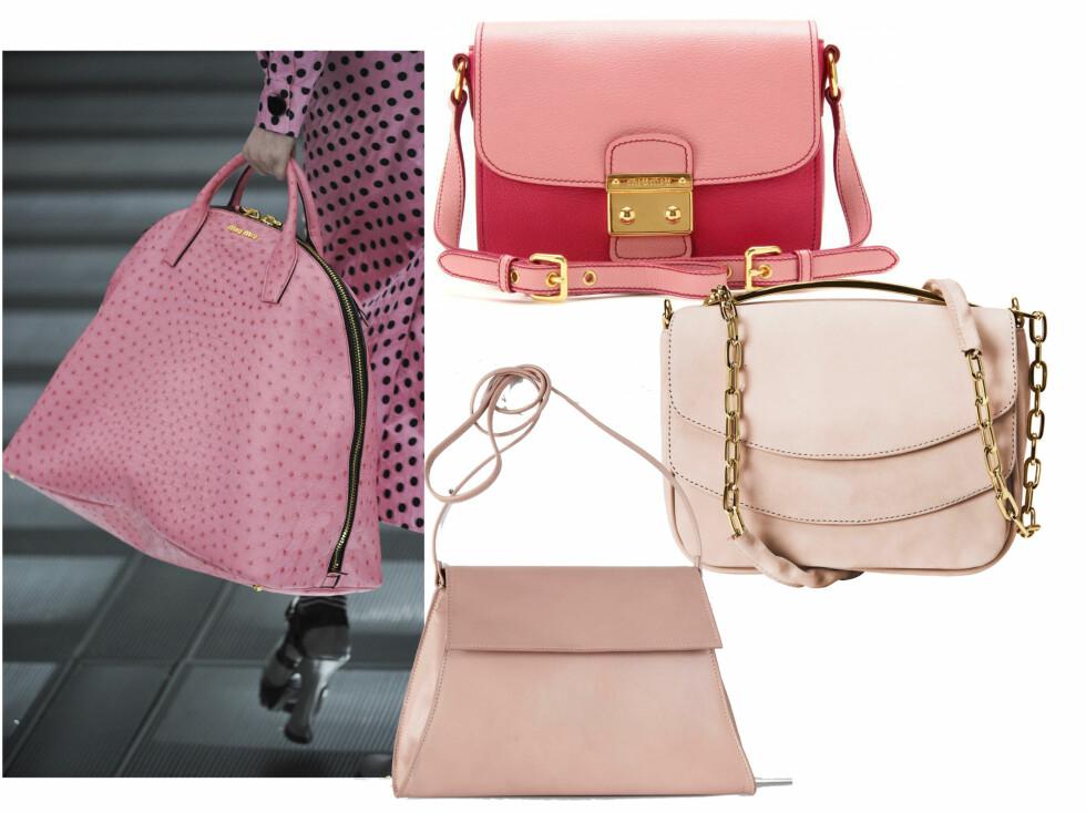 Rosa vesker er i skuddet hos designere som Miu Miu denne høsten. Øverst i tofarget rosa (kr 6300, Miu Miu), i blek rosa (kr 700, H&M) og med lang veskestropp (kr 500, Ellos). Foto: All Over Press/Produsenter