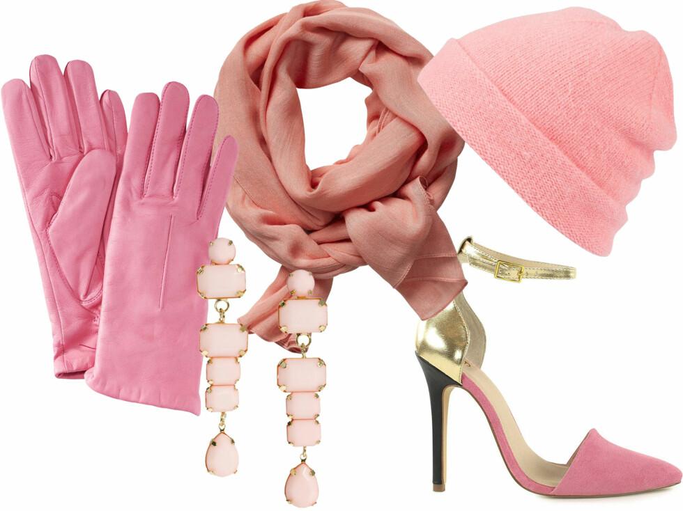 Rosa skinnhansker (kr 650, Filippa K), lunt skjerf (kr 300, In Wear), lue (kr 390, Badlands), lange øredobber (kr 60, Asos.com) og sko (kr 350, Nelly). Foto: Produsenter
