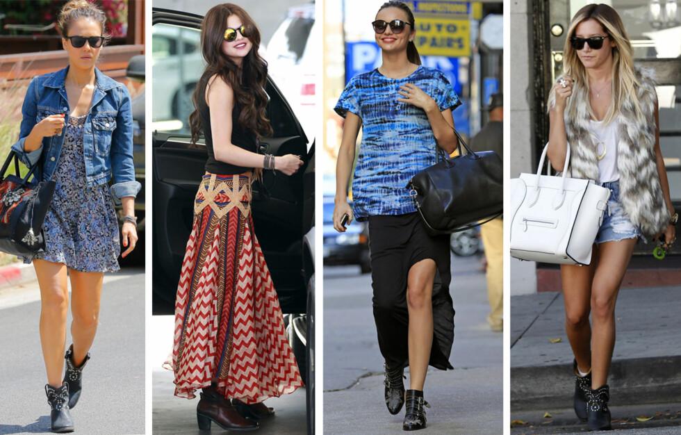 PERFEKT TIL HVERDAGS: Spesielt de flate bootsene er perfekt til kjoler, shorts og maxiskjørt. Her ser du Jessica Alba, Selena Gomez, Miranda Kerr og Ashley Tisdale. Foto: All Over Press
