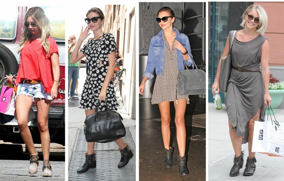 BOOTS OG SOMMERKJOLER ELLER SHORTS: Rocker opp den feminine kjolen og er ekstremt gode å gå med - bare du styrer unna de som er fôret. Her ser du hvordan Ashley Tisdale, Miranda Kerr og Julianne Hough styler skoene.  Foto: All Over Press