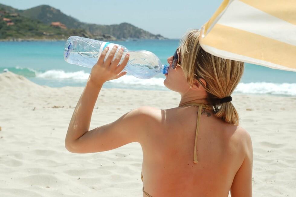VANN FRA FLASKE: Rikelig inntak av flaskevann er også viktig for en frisk ferie.    Foto: Getty Images/iStockphoto