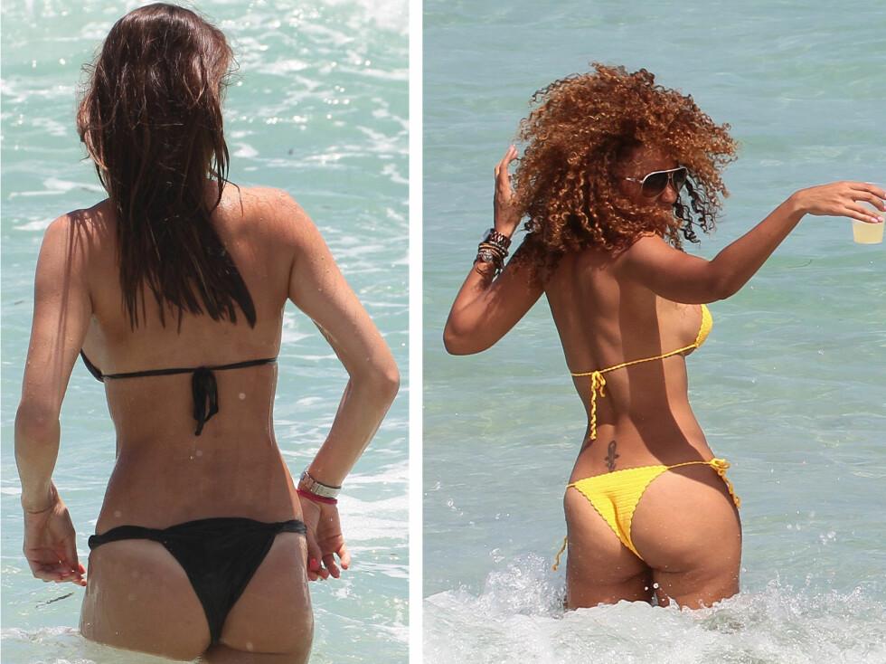 MED HALVE RUMPA BAR: Den brasilianske modellen Julia Pereira og tv-stjerne Aisha Thalia liker begge best bikinibukser av det minste slaget. Foto: All Over Press