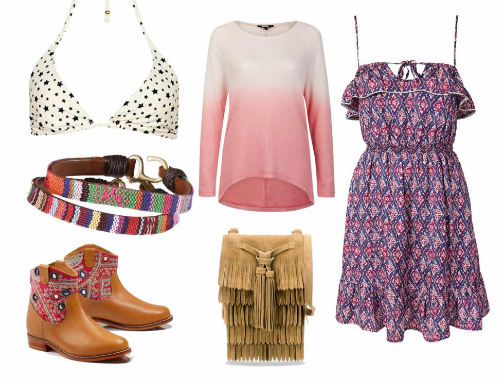 <strong>BOHEM:</strong> Kanskje henter Mette-Marit fram noe fra sine India-turer? Det kan hun i så fall matche med boots, frynser og en søt, mønstret kjole.   Foto: Produsentene