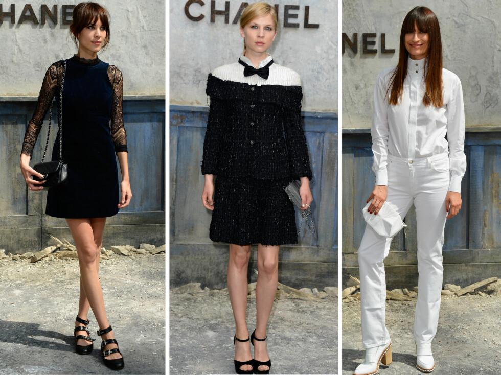 SVART OG HVITT: Alexa Chung, Clémence Poésy og Caroline de Maigret i sine svarte og hvite antrekk hos Chanel.  Foto: All Over Press