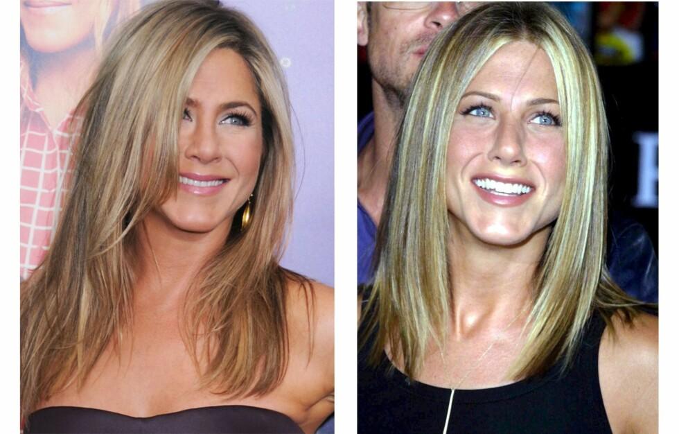 STRIPENE ER BORTE: Ser du forskjell på Jennifer Anistons hårfarge nå (til venstre) og for 14 år siden? Foto: All Over Press
