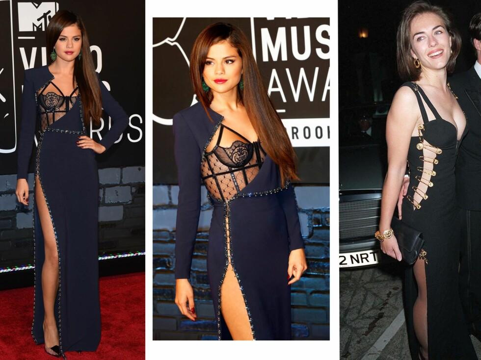 INSPIRERT AV LIZ HURLEY?: Selena Gomez' kjole kunne minne om den legendariske Versace-kjolen Liz Hurley hadde på seg i 1994. Sikkerhetsnålene og kløften var på plass. Foto: All Over Press