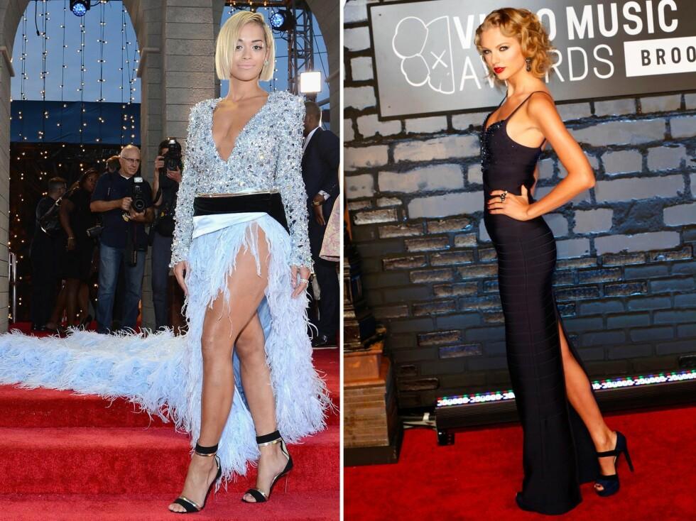 SEXY SPLITT: Ingen tvil om at vi skal vise fram lårene denne høsten.Her ser vi Rita Ora og Taylor Swift i hver sin lekre kjole. Foto: All Over Press