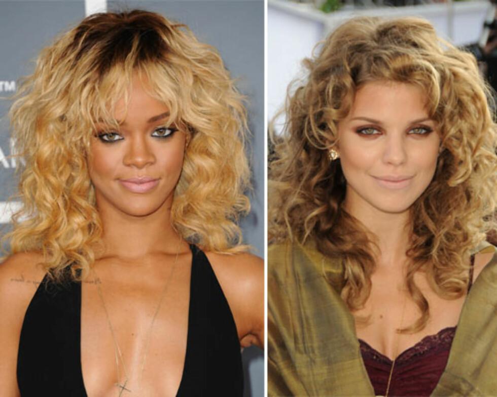 KRØLLETE SHAG: Denne frisyren handler om kontrollert kaos, og egner seg derfor for deg med en krøllete tekstur, slik Rihanna har. For å få denne looken kan du be frisøren bruke et barberblad for å gi deg en såkalt piecey, shaggy look som har mer volum ved røttene og er lettere og tynnere i tuppene. Har du ekstremt brusete hår, kan denne frisyren være vanskelig å style, men prøv eventuelt et serum eller en pomade i vått hår, la det tørke naturlig og ikke rør det etterpå. LANGE, KRØLLETE LAG: Har du skikkelig krøllete hår, er det lengden på håret som er nøkkelen. Tyngden og lengden på håret vil da roe ned krøllene noe og gjøre dem litt mindre spenstige, slik du ser på Annalynne McCord. For en myk frisyre som rammer inn ansiktet, kan du be om lag som starter ved haka eller lenger ned, gjerne så langt ned som kragebeinet. Igjen er det viktig med litt tyngde for å få krøllene til å slappe litt av.  Foto: All Over Press