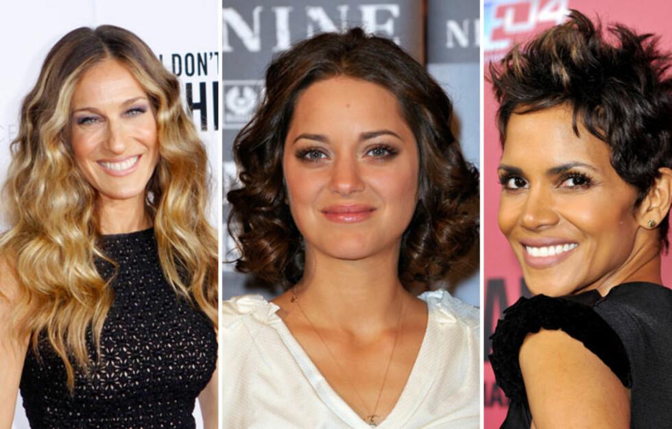 KRØLLE DAMER: Sarah Jessica Parker, Marion Cotillard og Halle Berry beviser at du kan få kontroll på krøllene, enten du vil ha en lang, medium eller kort frisyre.  Foto: All Over Press