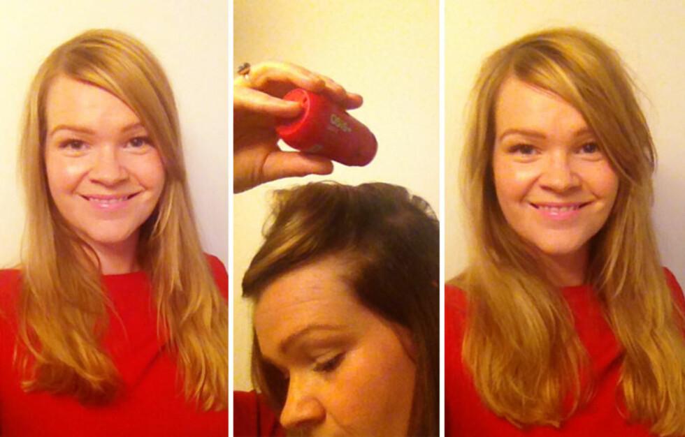 FØR OG ETTER: Om håret ser flatt ut og mangler volum, som til venstre, er det bare noen dryss med hårpulver som skal til før frisyren får mer volum. Her har KK.nos journalist prøvd det ut - se forskjellen! Foto: Aina Kristiansen
