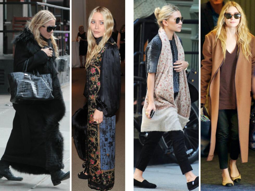 """MARY-KATE VERSUS ASHLEY: Mary-Kate (på bildene til venstre) er kjent for sin bohemsk-glamorøse stil, mens Ashley er mer klassisk, men med en kul """"edge"""".  Foto: All Over Press"""