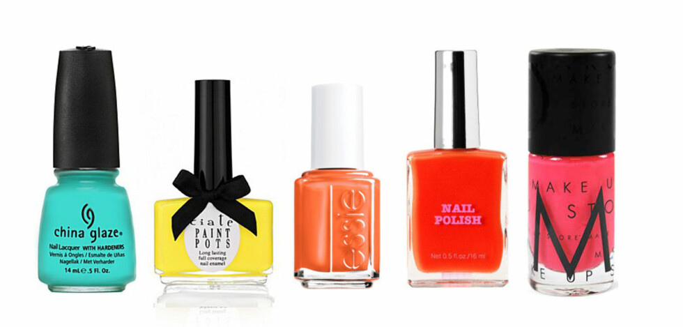 NEON PÅ FLASKE: Fra venstre: Neonblå fra China Glaze (kr.98/Nelly.com), gul fra Ciaté (kr.99/Nelly.com), oransje fra Essie (kr.139), knæsjkorall fra H&M (kr.29,50/HM.com) og sprek rosa (kr.130/Make Up Store). Foto: Produsentene