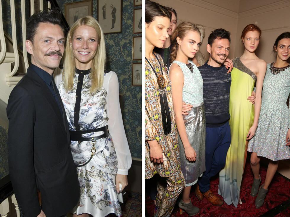 STJERNEFAVORITT: Williamson har en høy stjerne blant kjendisene. Her med Gwyneth Paltrow til venstre, og med supermodeller som Cara Delevingne etter sin høstvisning i februar.  Foto: All Over Press