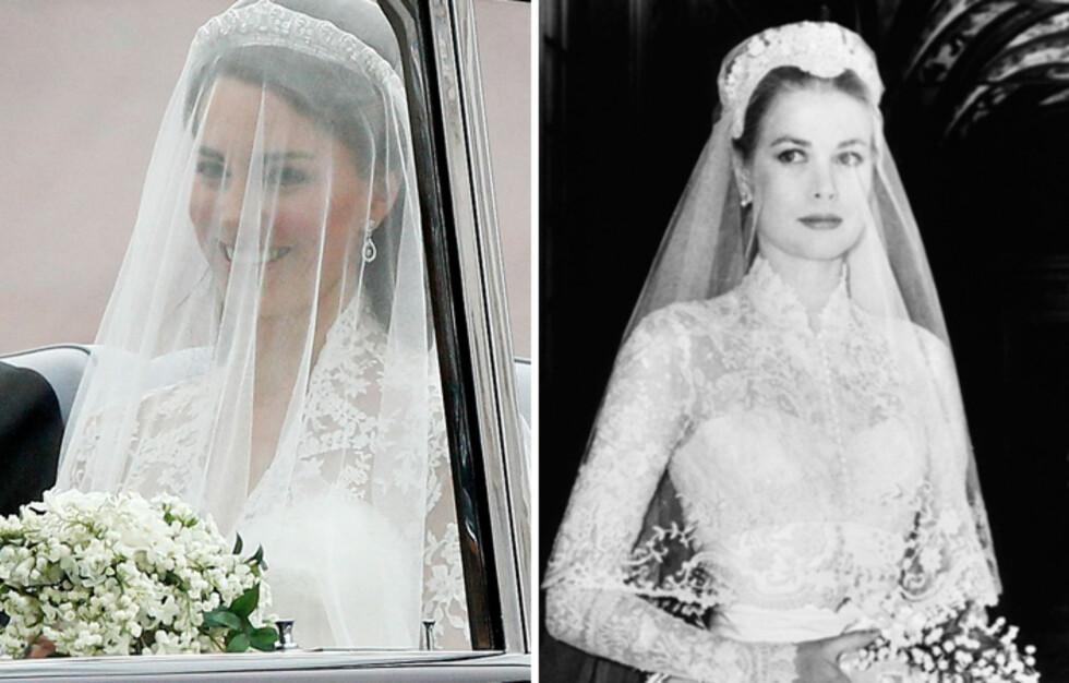 HVITE BLONDER: Kate Middleton gikk for vakre, hvite blonder på slør og kjoleoverdel, da hun giftet seg 29. april 2011 - som vakre Grace Kelly gjorde i 1956. Foto: All Over Press
