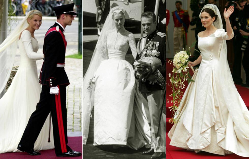 I TYLL, RÅSILKE OG BLONDER: I kongelige kretser skal brudekjolen ifølge tradisjonen verken være stroppeløs eller for utringet. Lange ermer og minst et par meter med slep er mer eller mindre obligatorisk. Her ser vi kronprinsesse Mette-Marit, Grace Kelly og kronprinsesse Mary av Danmark - og ingen bryter reglene. Foto: All Over Press