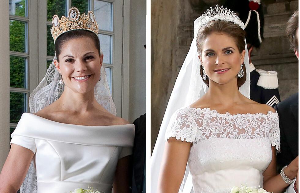 KORTE ERMER: Prinsesse Madeleine gjorde som storesøster, kronprinsesse Victoria, og valgte en kjole med moderne og trendy korte ermer.  Foto: All Over Press