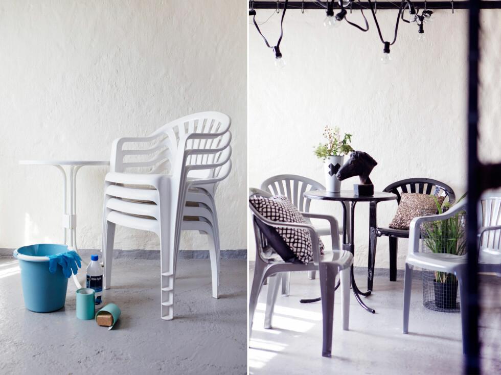 FØR OG ETTER: Plaststolene er ikke til å kjenne igjen: Blanke, nye og FINE! Foto: Yvonne Wilhelmsen