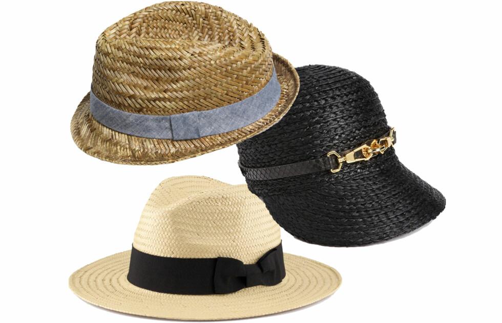 I STRÅ I ULIK STIL: Hatt i avisguttstil (kr 800, Rachel Zoe/nordstorm.com), caps i 20-tallsstil (kr 80) og i hvit fedorastil (kr 100, begge fra H&M). Foto: Produsenter