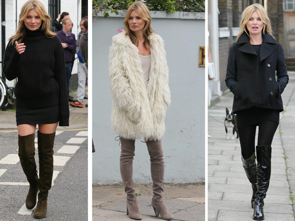 FINT TIL TRANGE MINISKJØRT: Supermodell Kate Moss i tre ulike modeller.  Foto: All Over Press