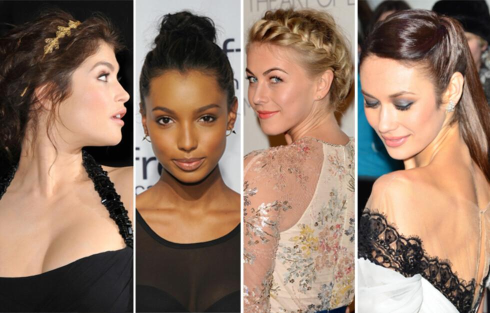 STJEL STILEN: Gjør som nydelige Gemma Arterton, Jasmine Tookes, Julianne Hough og Olga Kurylenko og sett opp håret i sommer. Lekkert til enhver anledning.  Foto: All Over Press