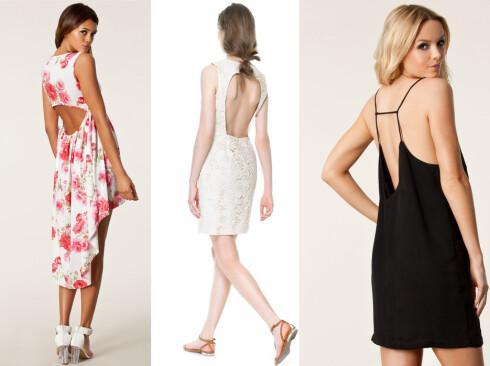 KJØPSINFO: Kjole med blomstermønster (kr 300, Three Little Words/nelly.com), hvit kjole (kr 560, Zara) og sort kjole med tynne stropper (kr 300, Issue 1.3/nelly.com). Foto: Produsentene