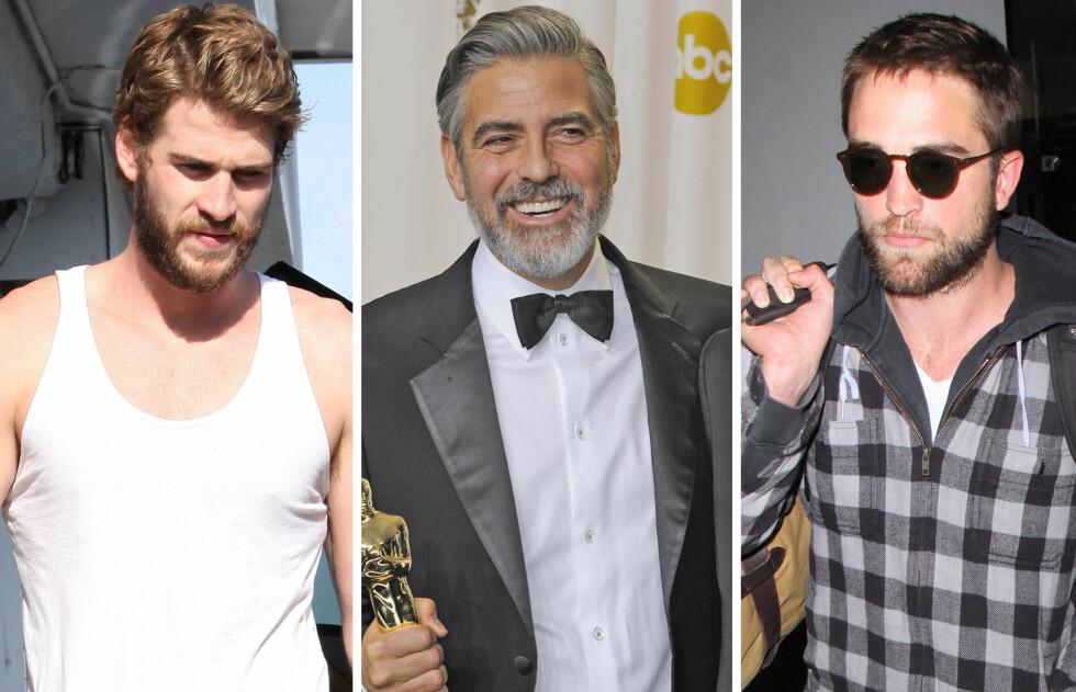 SEXY MED SKJEGG: Liam Hemsworth, George Clooney og Robert Pattinson er alle dødssexy med tidagersskjegg - som ifølge ny forskning er det som virkelig får kvinner til å tenne! Foto: All Over Press