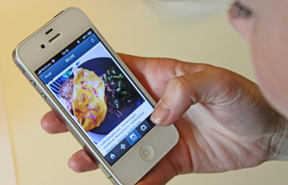 FOODSTAGRAMMING: Svært mange Instagram-brukere legger ut bilder av maten de spiser - om det så er hjemme eller på restaurant. Ifølge Runi Børresen, som er ekspert på spiseforstyrrelser, kan dette muligens ha en innvirkning på unge jenter/gutter og utikling av spiseforstyrreler. Spesielt for dem som allerede er såbare.  Foto: A. C. Blystad