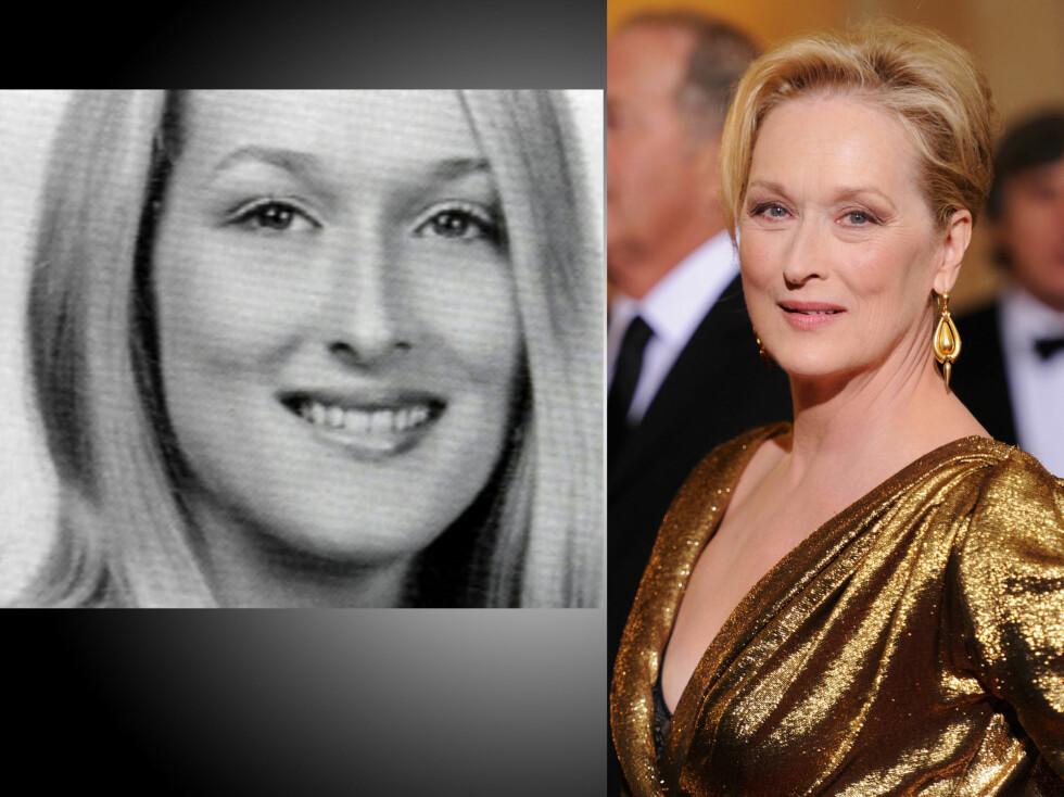 <strong>MERYL STREEP:</strong> Bildet til venstre er tatt da hun gikk på high school, mens det andre er tatt på Oscar-utdelingen i 2012.  Foto: All Over Press
