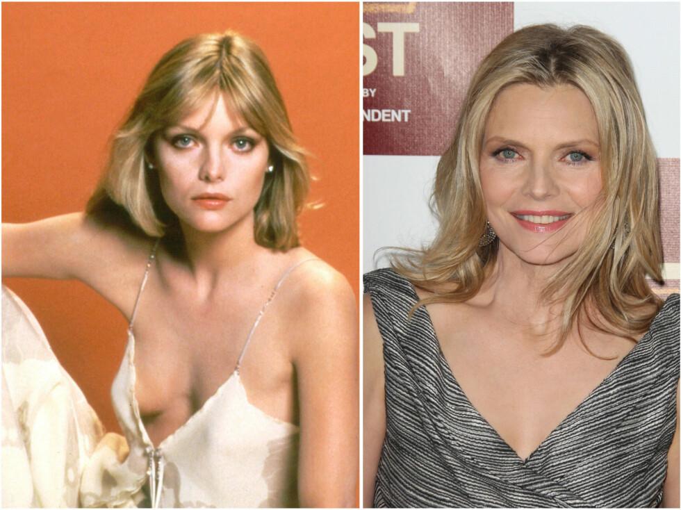 <strong>MICHELLE PFEIFFER:</strong> Michelle på slutten av 80-tallet og i 2012. Foto: All Over Press
