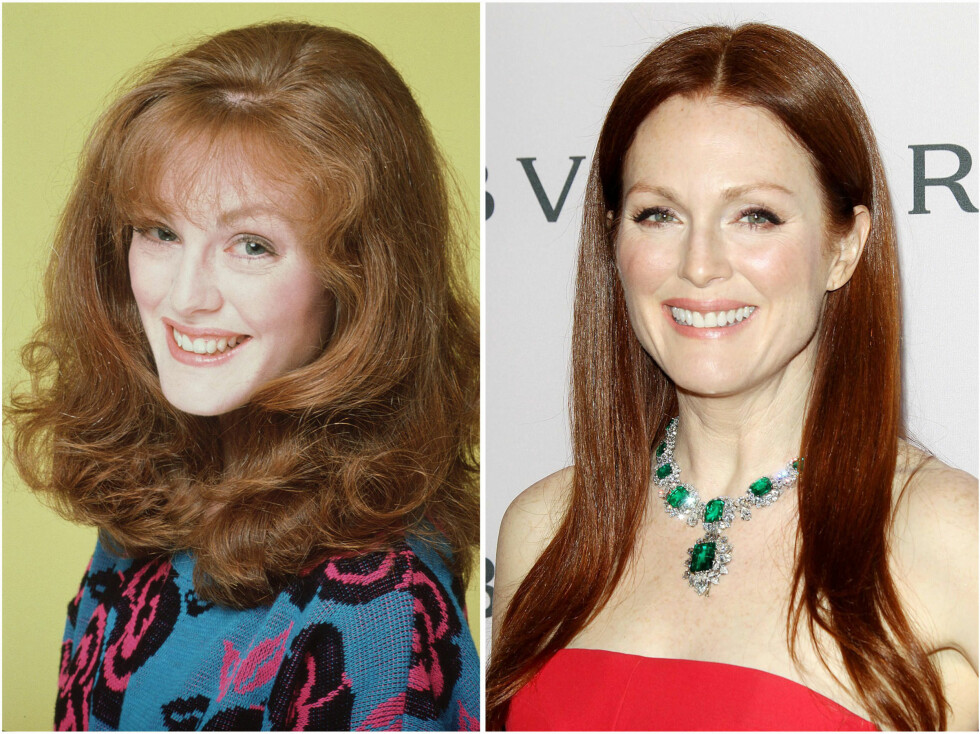 <strong>JULIANNE MOORE:</strong> Den rødhårete skjønnheten i 1985 og i 2013. Foto: All Over Press