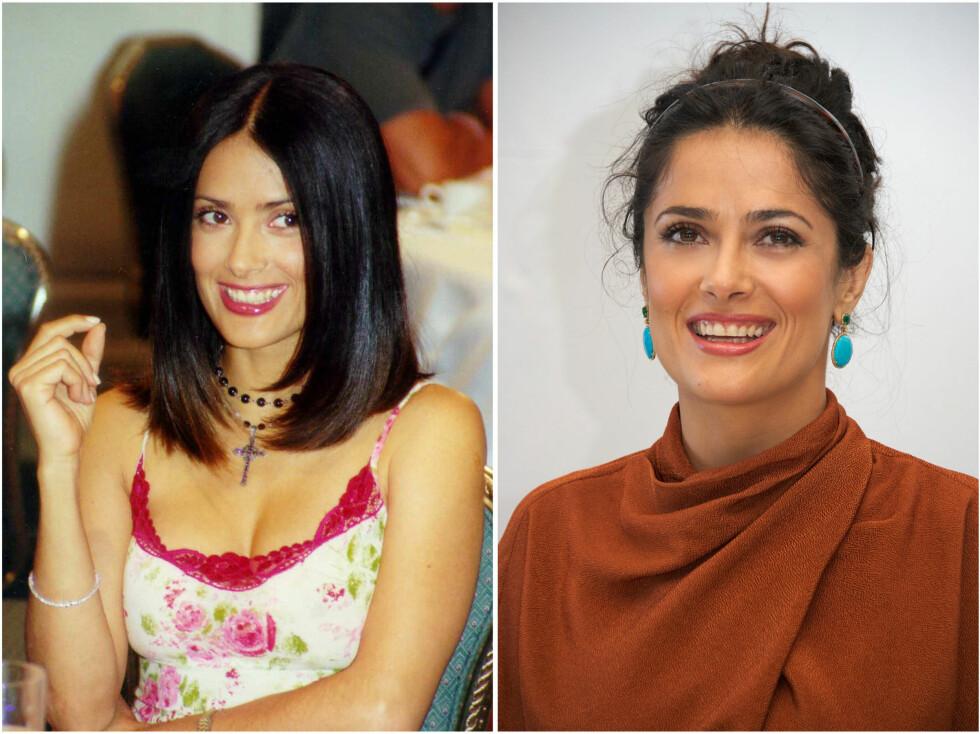 <strong>SALMA HAYEK:</strong> Salma i år 2000 og i 2013. Foto: All Over Press