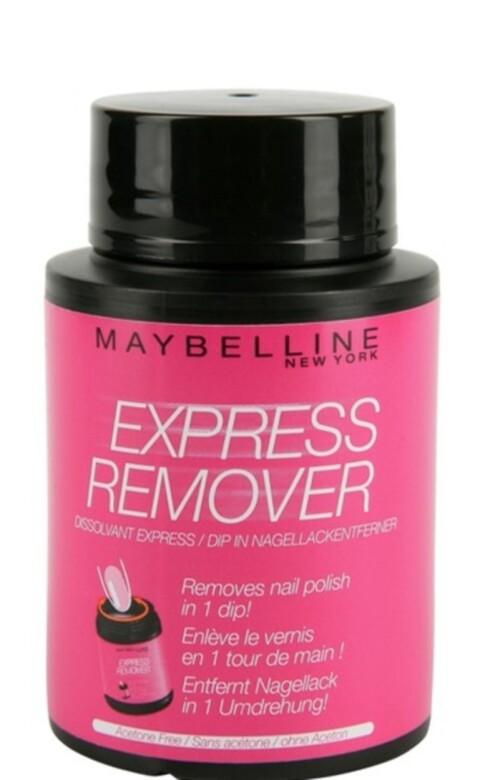 EFFEKTIV: Maybelline Express Remover neglelakkfjerner er perfekt for deg som har det travelt eller bare vil effektivisere neglelakkfjerningen, kr 89. Foto: Produsenten