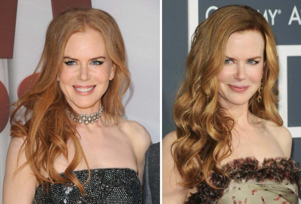 SATS PÅ NATURLIG: Nicole Kidman ser eldre ut med hjelmfarget hår. Mye bedre blir det med hår i naturlige fargenyanser med solstriper. Foto: All Over Press