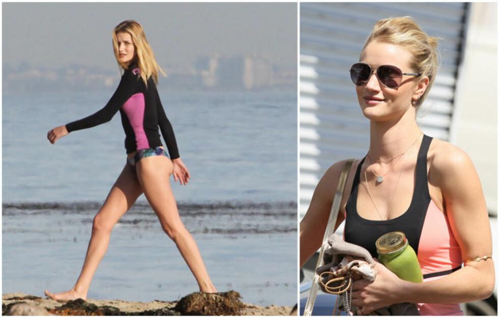 ROSIE HUNTINGTON-WHITELEY: Supermodellen trener mye, og er for tiden svært hekta på smoothie. Foto: All Over Press