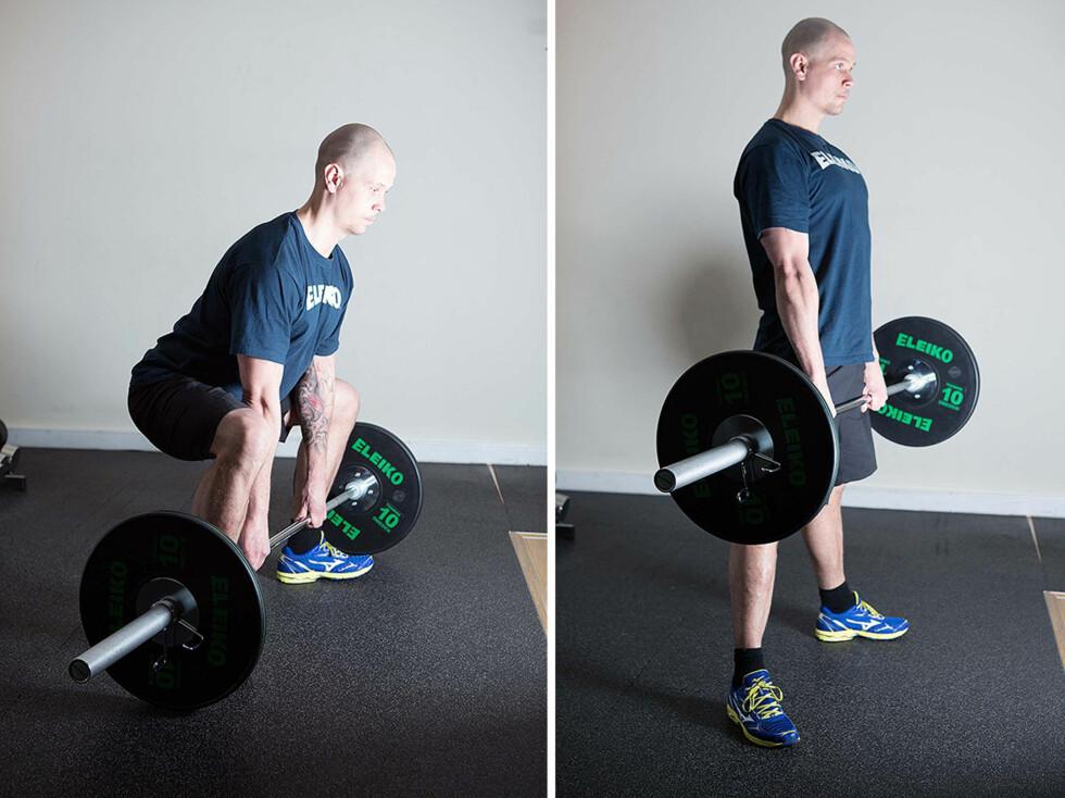 SUMO-MARKLØFT: Her er det viktig at du ikke legger vekten på ryggen, og at du presset deg opp ved bruk av kraft fra hælene (foto:Øyvind Heia).
